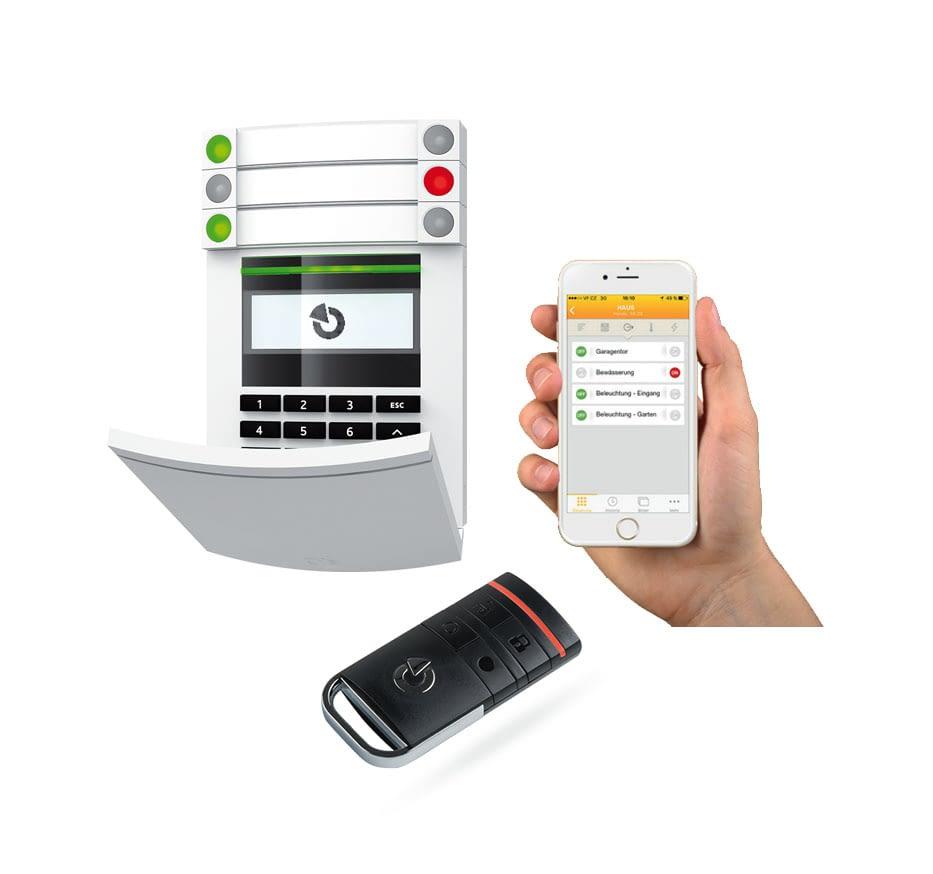 Tastatur, Fernbedienung und Smartphone