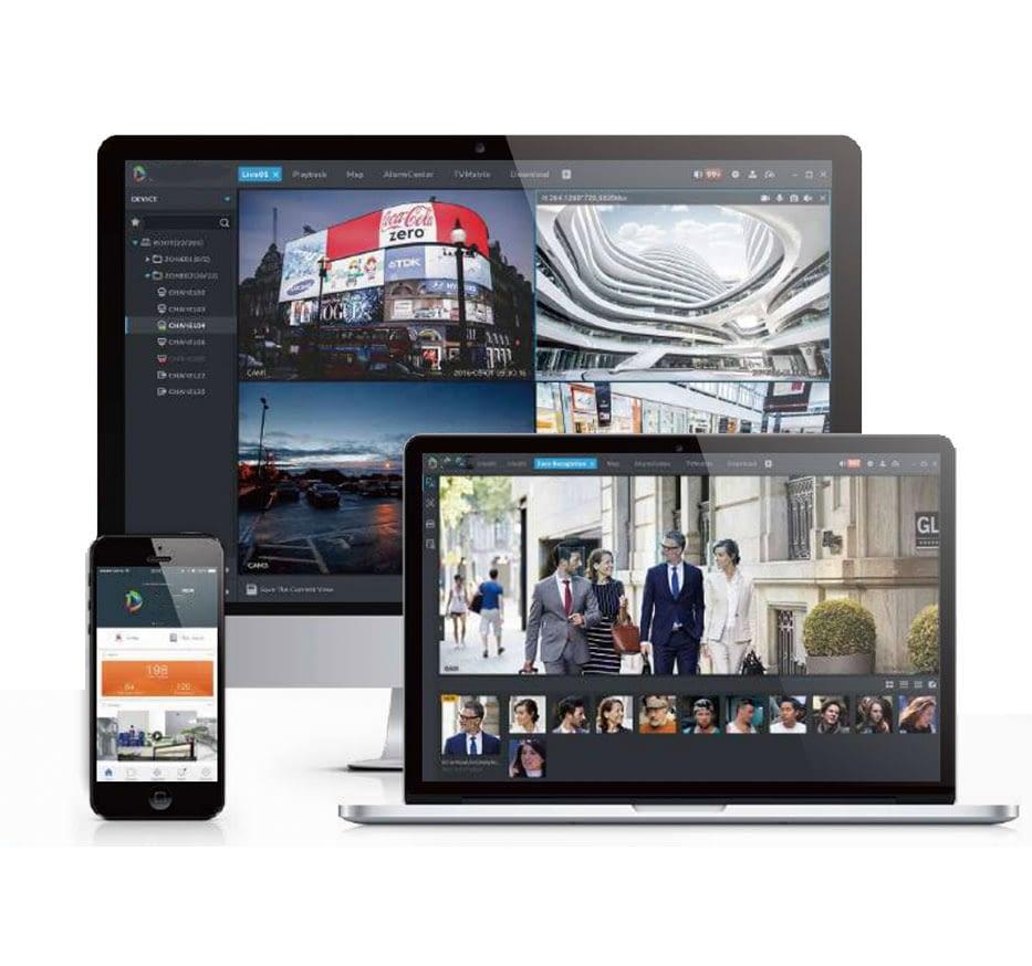 Ein Smartphone, Laptop und Monitor