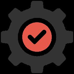 Icon rotes Häkchen in Zahnrad