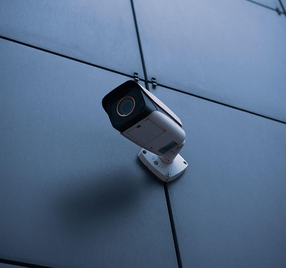 Eine installierte Videoüberwachungskamera