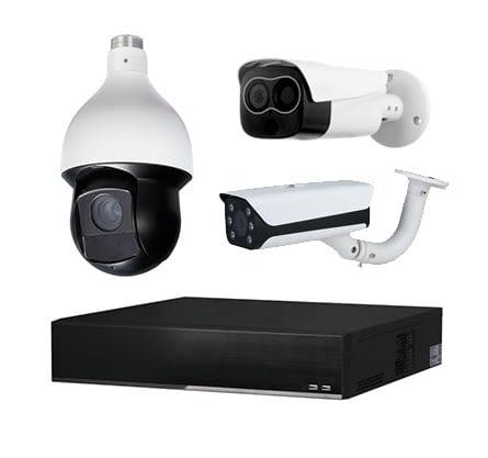 Drei Kameras und ein Rekorder einer Industrievideoüberwachung